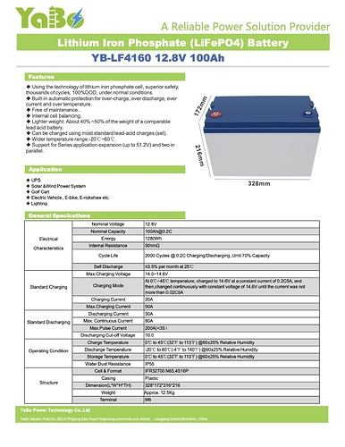 LF4160 LiFePO4 12 8V 100Ah Battery Pack Specification1